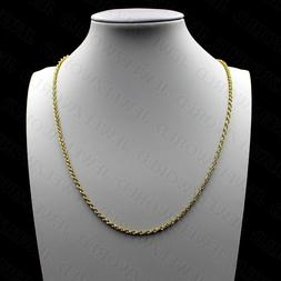 """10K Solid Yellow Gold Necklace Gold Rope Chain 2MM 16"""" 18"""" 2"""