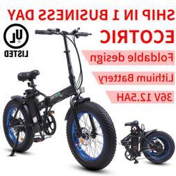 "20"" 500W 36V 7 Speed Folding Electric Bicycle E Bike Fat Tir"