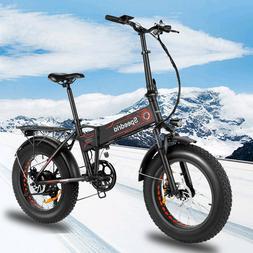 20'' 500W Folding Electric Bike Fat Tire Mountain Bicycle w/