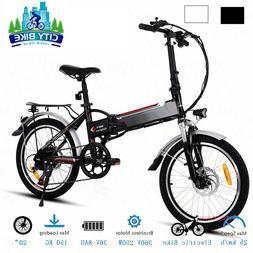 20''Folding Electric Mountain Bike, 7-Speed E-Bike E-City Bi