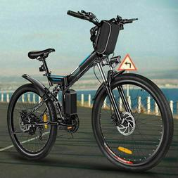 "21-Speed Electric Bike Mountain Bicycle 26"" Folding City E-B"