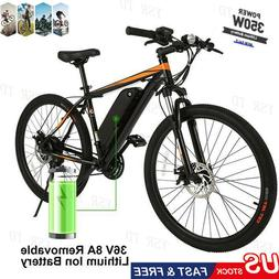 26'' 350W Adult Electric Mountain Bike E-bike 21 Speed 36V 8