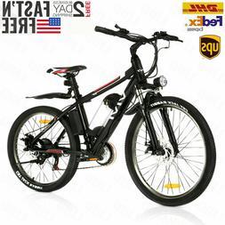 "VIVI 26"" 350W Electric Bike Mountain Bicycle EBike Black 21-"