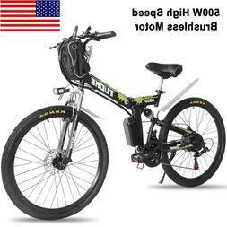"""26"""" Electric Folding Bike Mountain Bicycle EBike SHIMANO 21S"""
