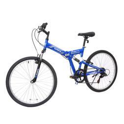 """26"""" Folding Mountain Bike 7 Speed Bicycle Shimano Hybrid Sus"""