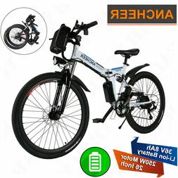 "Ancheer 26"" Adult Electric Mountain Bike Folding Bicycle Dou"