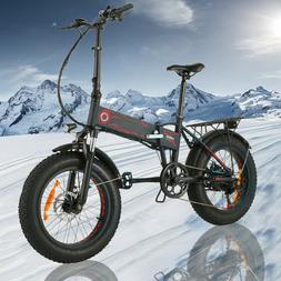 500W 20INCH Folding Electric Bike Beach Snow E-Bike Fat -Tir