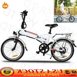 "Adult 20"" Folding Electric Bike Shimano 7-Speed E-Bike Bicyc"