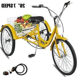 "Adult 26"" 3-Wheel Shimano 7-Speed Tricycle Trike Bicycle Bik"