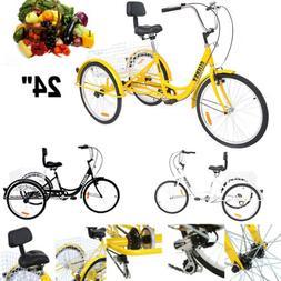 """7-Speed Adult 24"""" 3-Wheel Unisex Tricycle Trike Bicycle Bike"""