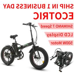 Black Folding Electric Fat Tire Bike Beach Bicycle City Ebik