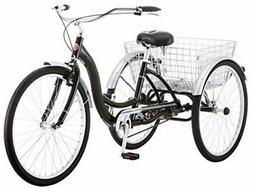 Adult Tricycle Black Full Size Three Wheel Bicycle Adjustabl