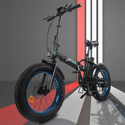 "Folding Electric Fat Tire Bike Beach Bicycle City Ebike 20"""
