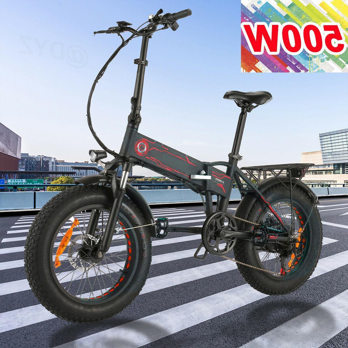 20INCH 500W Electric Bike Folding Fat Tire Beach Mountain Bi