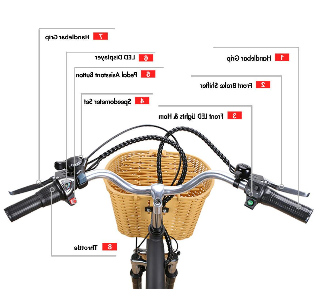 "NAKTO 26"" E-Bike 36V10AH Li-Battery 6 Speed"