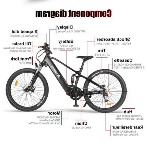 "27.5"" Tire Electric Mountain Bike 48V Mid Drive Motor"