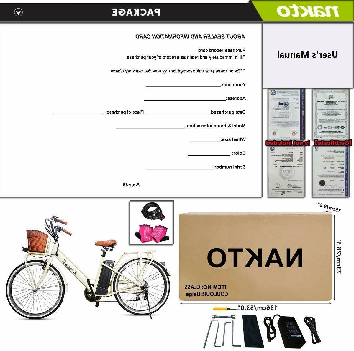 "NAKTO Adult Bicycles 26"" Electric Bikes 250W 36V12Ah Ebikes"