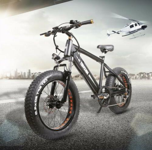 "Electric Bike 20"" Fat Tire Bikes 6-Speed Battery"