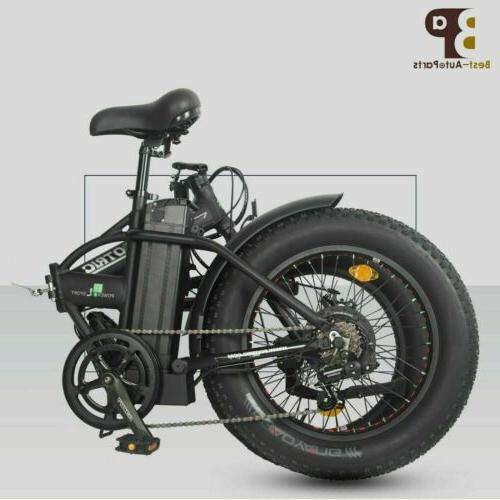 "Folding 20"" 500W FatTire City E Bike Beach Bicycle Ebike LCD"