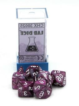 Chessex Lab Dice CHX 30025 Lustrous Amethyst/White  Purple