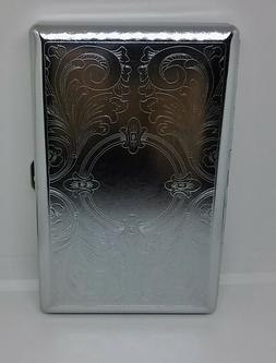 Kingstar Silver Floral Double Sided Metal 120s Size Cigarett